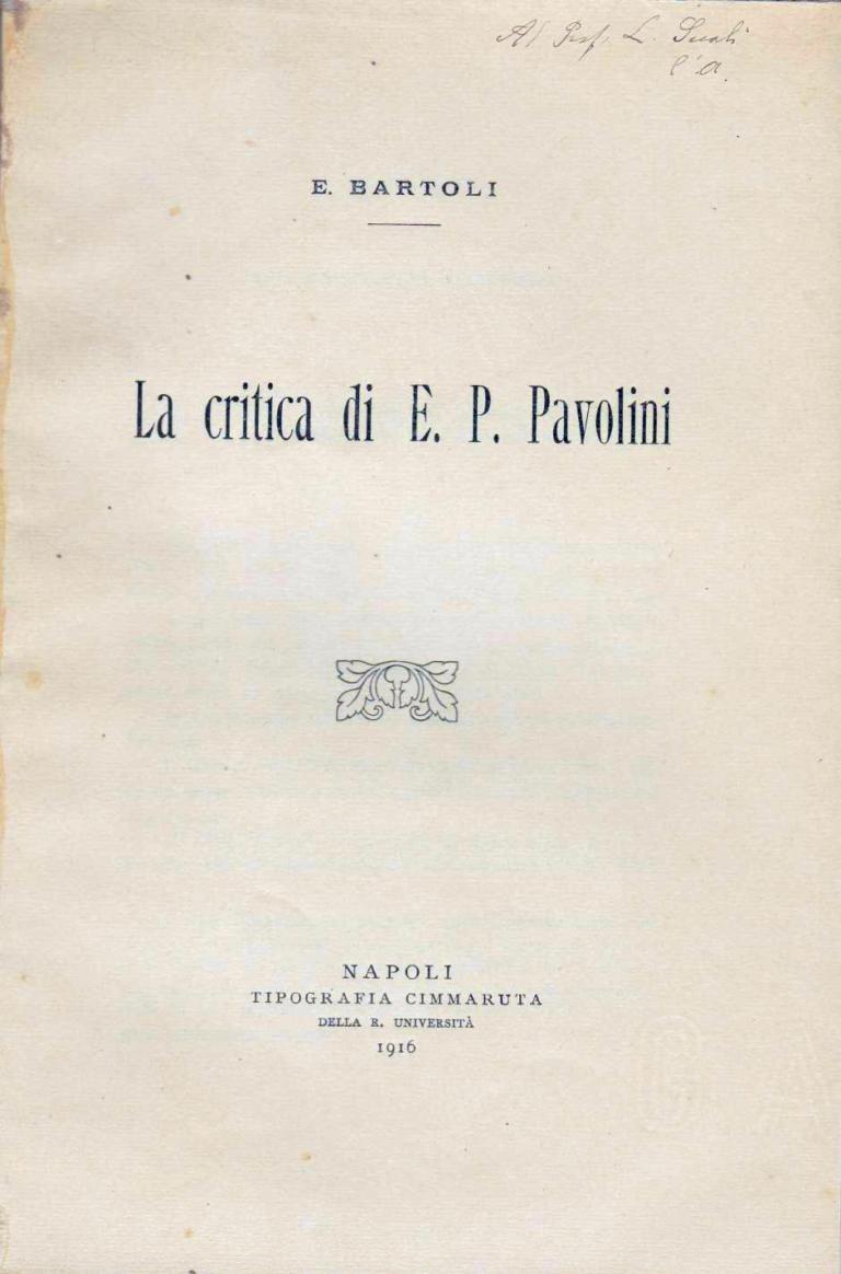 La critica di Paolo Emilio Pavolini - Emilio Bartoli (1916)