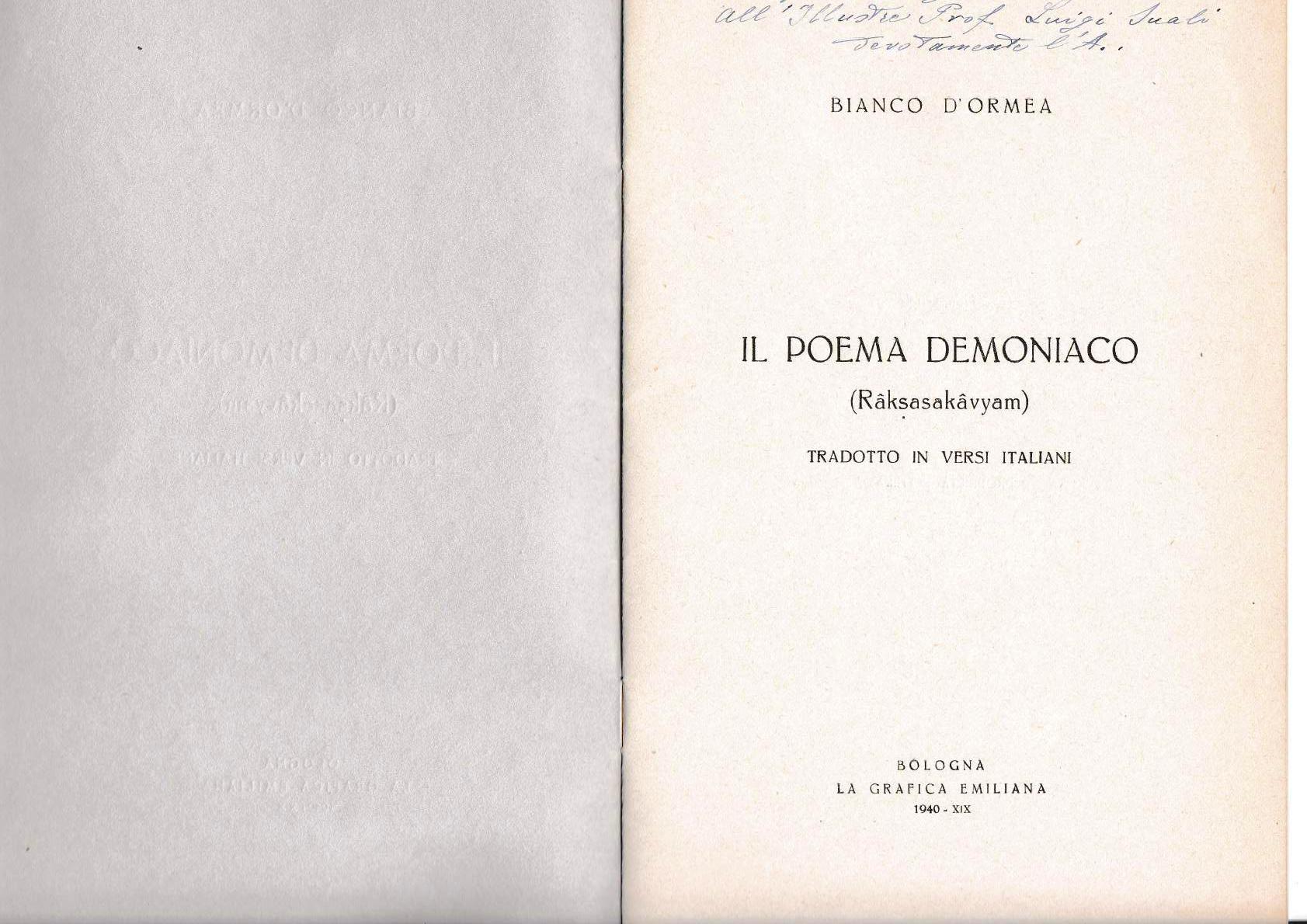 Il poema demoniaco - Bianco D'Ormea (1940)