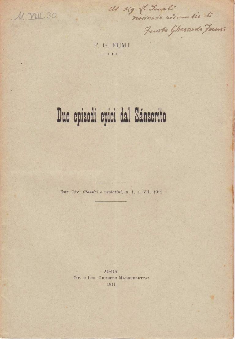 Due episodi epici dal sanscrito - Fausto Gherardo Fumi (1911)