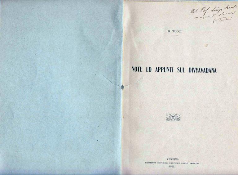 Note e appunti sul Divyavadana - Giuseppe Tucci (1922)