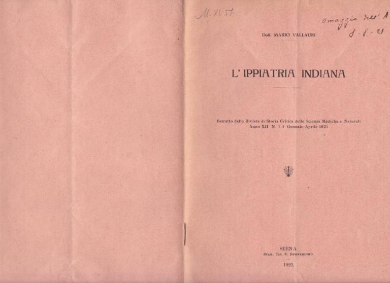 L'ippiatria indiana - Mario Vallauri (1921)